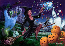 Happy Halloween Witch with graveyard friends von Martin  Davey