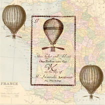 Vintage Balloons with Map of France by Patricia N