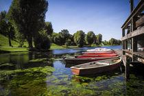 Boats in Olympiapark Munich  von Martin Dzurjanik