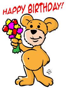Cartoon Teddy Bär - Happy Birthday Bear von Elke Schmalfeld
