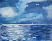 Segelboot im Mondschein von Rudolf Urabl