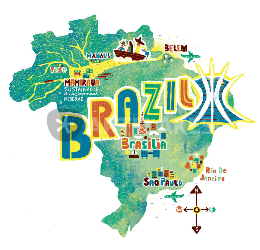 Brazil Map GraphicIllustration art prints and posters by Migy