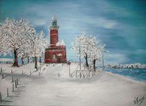 Winter am Leuchtturm Kiel-Holtenau by Bärbel Knees