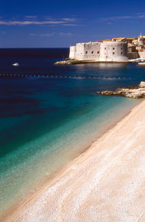 Ploce beach and St John's Fortress, Dubrovnik, Croatia by Steve Outram