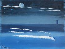Leuchtturm mit Mond von Rudolf Urabl