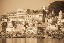 Morning at Ahilyabai Ghat in Sepia by Russell Bevan Photography