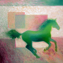 TRIPTIC green horses on the wall 3 by Andreea raluca Tifigiu