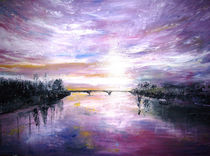 Aquarell, Sonnenaufgang durch die alte Rheinbrücke von Christine  Hamm