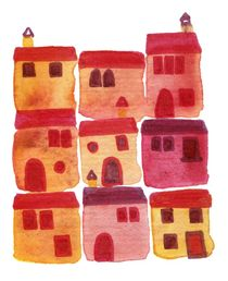 Tuscany Watercolor Abstract Painting by Nic Squirrell