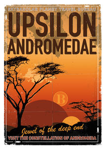 Exoplanet 06  Travel Poster UpsilonAndromedae 4 by chungkong