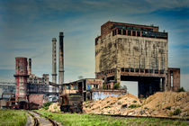 Old factoryand ironworks with chimneys by Arther Maure