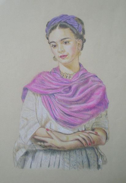 portrait of frida kahlo zeichnung als poster und kunstdruck von alix mordant bestellen. Black Bedroom Furniture Sets. Home Design Ideas
