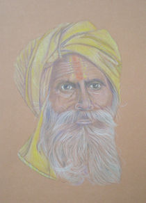 Portrait of an old man from India von Alix Mordant