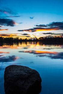 Bolam Lake sunset. UK by Mark Aynsley
