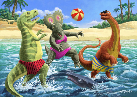 Dinosaur-fun-playing-volleyball-on-a-beach-vacation