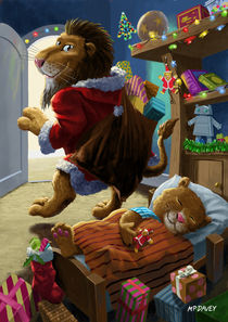 father christmas lion delivering presents von Martin  Davey