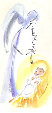 Child Jesus and Angel by Ioana  Candea