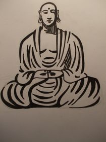 Buddha Drawing von Justin Latimer