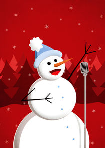 Christmas Happy Singing Snowman von Boriana Giormova