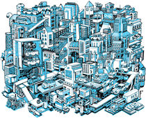 City Machine - Blue by Nigel Sussman