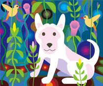 White Dog in Garden Jungle von Charles Harker