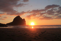 Sunset Piha Beach 1 by Gitta Wick