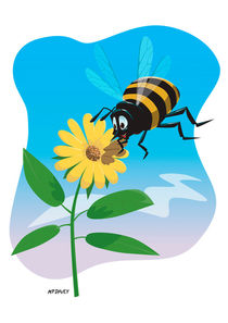 Happy cartoon bee with yellow flower von Martin  Davey