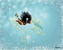 Mermaid Kissing Sea Dragon by Stacey Renee Bowers