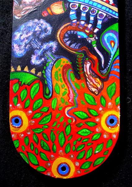 Acidoodling-mini-panels-detail-1-acrylic-paint-on-found-fan-blades-dec-2012-john-lanthier