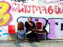 Old Lady and the graffiti by Eva-Maria Steger