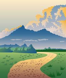 Road Leading to Mountains Retro by patrimonio