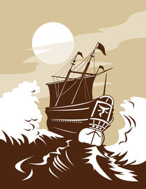 galleon sailing ship at sea retro von patrimonio