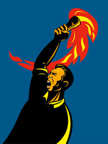 worker with flaming torch retro by patrimonio