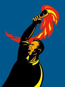 worker with flaming torch retro von patrimonio