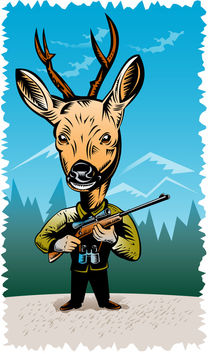 deer with hunting rifle retro by patrimonio