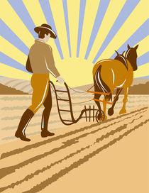 farmer and horse plowing the farm retro von patrimonio