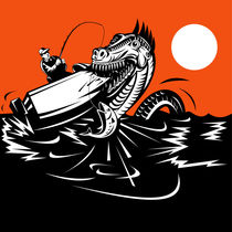 fisherman fishing and sea serpent retro by patrimonio