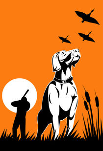 hunter aiming shotgun with retriever dog retro von patrimonio