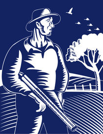 farmer hunter with shotgun rifle retro by patrimonio