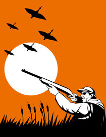 hunter aiming shotgun rifle retro by patrimonio
