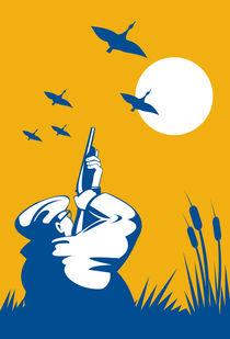 hunter aiming shotgun rifle at duck retro by patrimonio