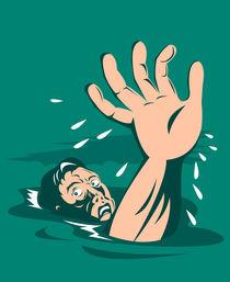 Man Reaching for Help Drowning Retro by patrimonio