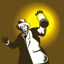 Man Wearing Top hat And Holding Lantern Retro by patrimonio