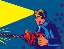 miner with jack drill retro by patrimonio