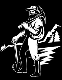 miner with with pick axe and shovel retro by patrimonio