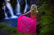 Girl at falls by northwest-scenescapes