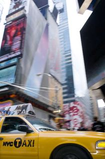 NYC Yellow Cab in Times Square by Megan Daniels