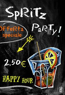 Spritz Party Aperol - Grafik Design Kunst Venedig, Italien by nacasona