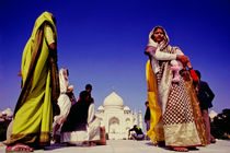 Local visitors at the Taj Mahal in India by ingojez