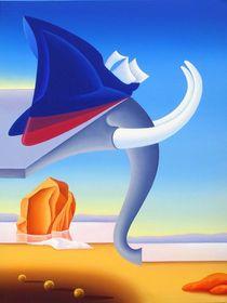The fighting elephant. 80-60 cm. canvas, oil by Vasiliy Zherebilo